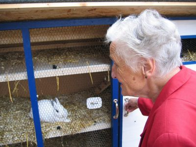 Woman looking at rabbit in hutch